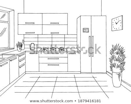kroki · mutfak · stil · ev · duvar · dizayn - stok fotoğraf © arkadivna