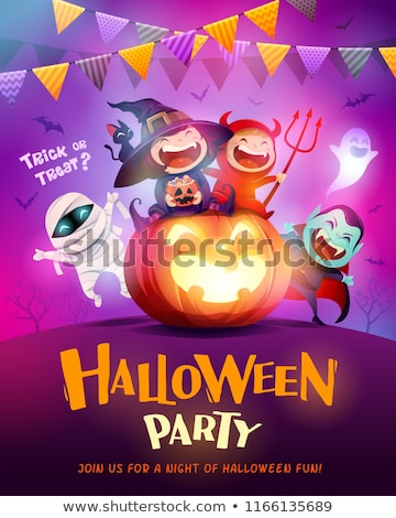 Stock photo: Happy Halloween poster with kid in mummy costume