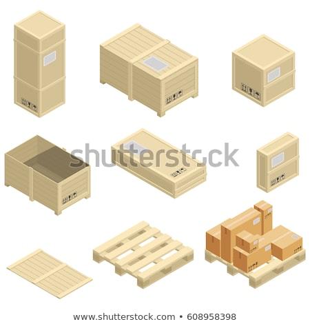 Gerçekçi ahşap kutu izometrik konteyner taşımacılık Stok fotoğraf © kup1984