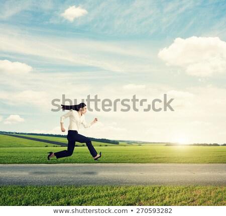 üzletasszony fut fehér portré zöld igazgató Stock fotó © wavebreak_media