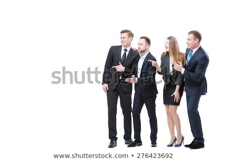 деловая женщина указывая Постоянный белый женщину Сток-фото © wavebreak_media