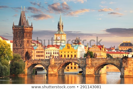 Sunset at Charles bridge in Prague Stock photo © Ionia