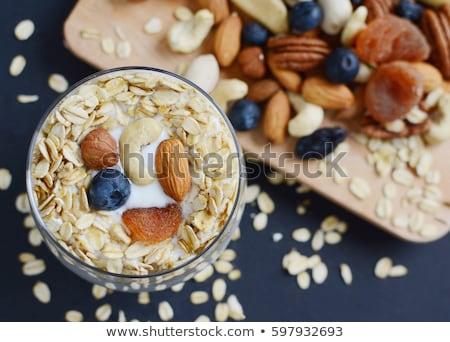Zab pelyhek mazsola fehér joghurt tál Stock fotó © Digifoodstock
