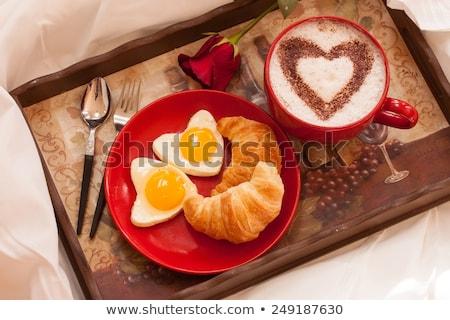 романтические Валентин завтрак красный Jam тоста Сток-фото © klsbear
