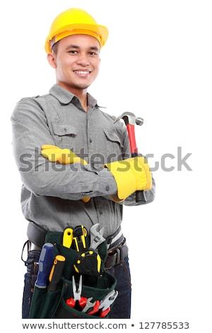 Fiatal ázsiai építész munkaruha védősisak nevet Stock fotó © RAStudio