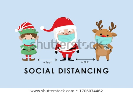 Santa Claus Set Isolated Vector. Cartoon Christmas Character. Classic Blue Suit. Xmas Design Element Stock photo © pikepicture