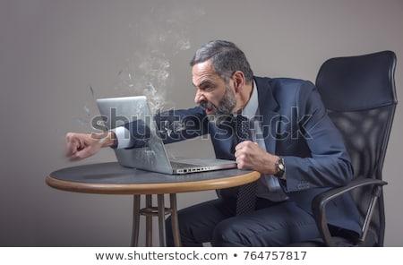 furioso · empresário · gritando · indicação · dedo · direito - foto stock © rastudio