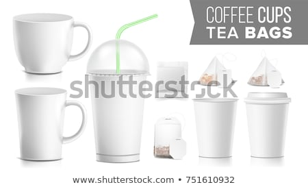 take out ocher paper cups tea bags mock up vector big small coffee cup cola soft drinks cup temp stock photo © pikepicture