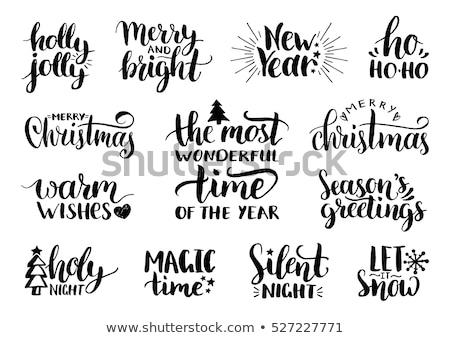 Stock fotó: Vidám · karácsony · illusztráció · tipográfia · mágikus · hó