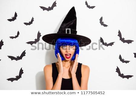 Elképesztő fiatal nő halloween jelmez kép buli Stock fotó © deandrobot