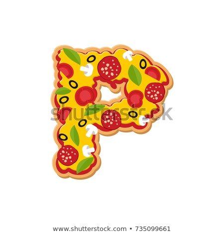 Letter P pizza font. Italian meal alphabet. Lettring fast food Stock photo © popaukropa