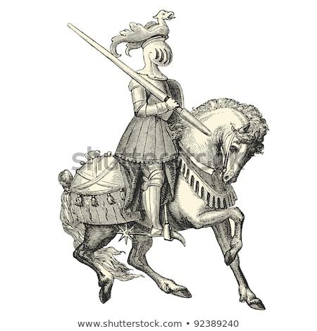 Medieval Knight on Horse Vintage Woodcut Style Stock photo © Krisdog
