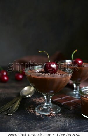 glasses of homemade panna cotta with cherries stock photo © mpessaris