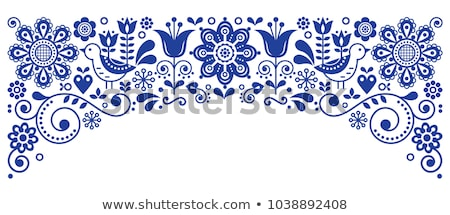 Scandinavian folk art pattern with birds and flowers, Nordic floral design, retro background in navy Stock photo © RedKoala