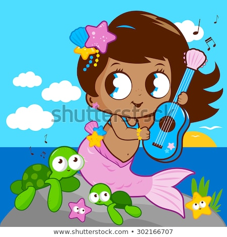 Mermaids and turtles on the island Stock photo © bluering