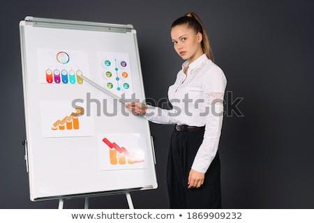 mujer · de · negocios · negocios · diagrama · traje - foto stock © studioworkstock