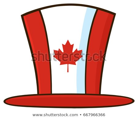canadian maple leaf top hat line cartoon drawing stock photo © hittoon