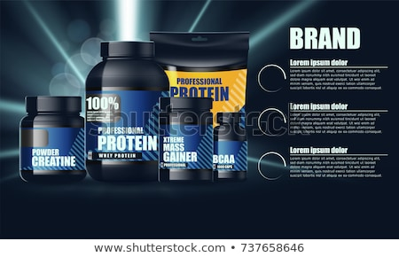 Set sport Nutrition Supplement containers vector illustration. S Stock photo © popaukropa