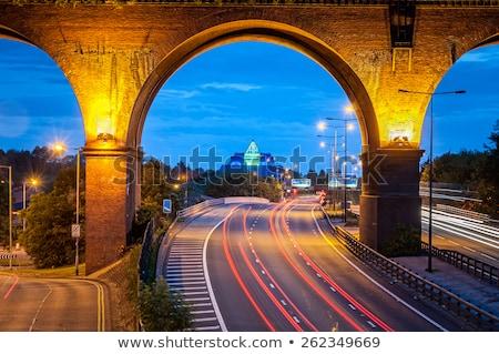Ferrovia ponte noite reflexão rio Riga Foto stock © 5xinc