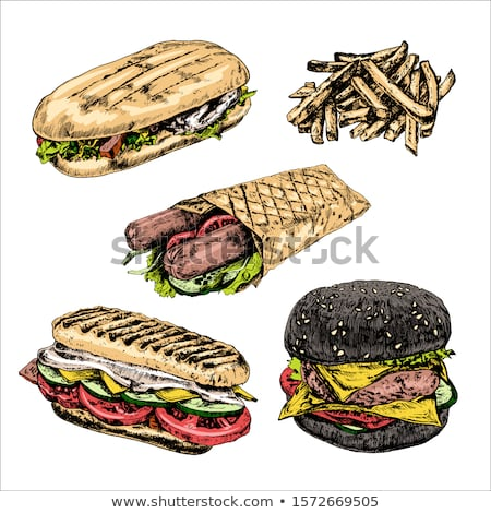 vector · fast · food · ilustratii · Burger - imagine de stoc © filata