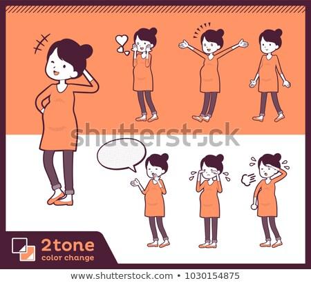 feliz · grávida · mulheres · ilustração · três · espera - foto stock © toyotoyo