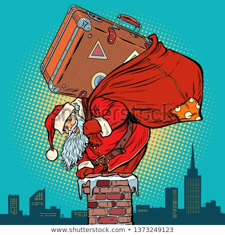 Santa Claus with a suitcase climbs into the chimney Stock photo © studiostoks