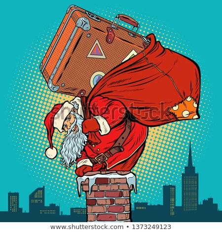 Kerstman koffer schoorsteen pop art retro vintage Stockfoto © studiostoks