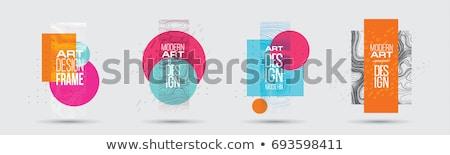 Moderne geometrie kunst poster sjabloon donkere Stockfoto © orson