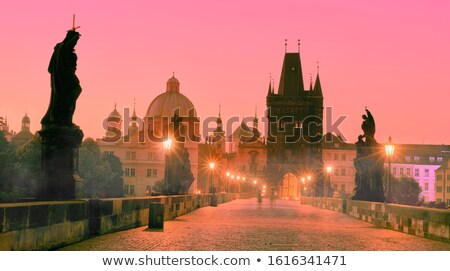 street lights on charles bridge stock photo © givaga