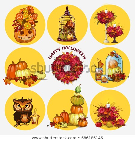 Set of ripe pumpkins, wreath of dried flowers, owl, candleholder. Attribute of the holiday of Hallow Stock photo © Lady-Luck