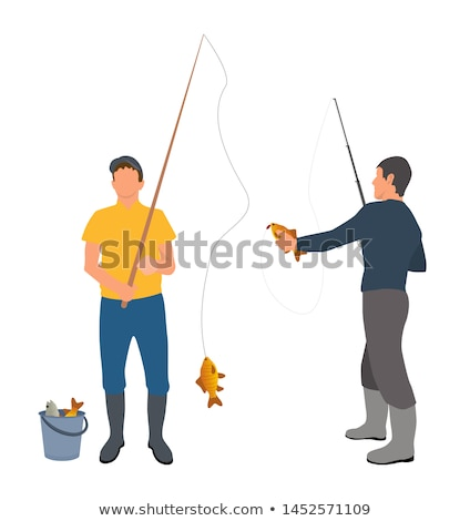 Fishing Equipment and Fisher with Haul Banner Stock photo © robuart
