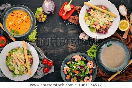 Tengeri hal szett fa asztal illusztráció hal háttér Stock fotó © bluering