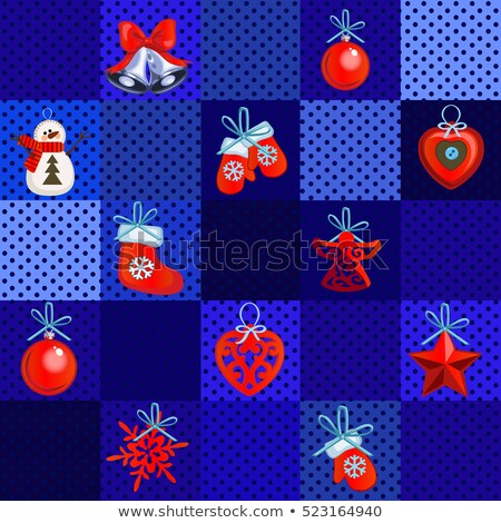 Sample design wrapping paper with attributes of the New Year and Christmas. Sketch of the poster, pa Stock photo © Lady-Luck