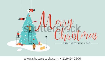 Vrolijk mensen pijnboom christmas Stockfoto © cienpies