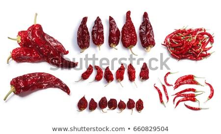 Aszalt egész piros paprika Chile felső kilátás Stock fotó © maxsol7