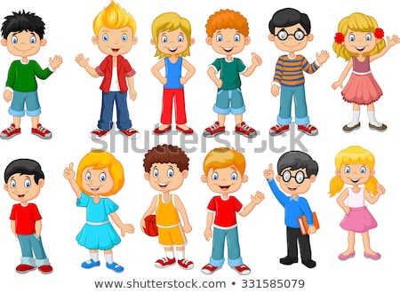 Girl Kindergarten Kid Poses Set Vector. Little Children. Happiness Enjoyment. For Web, Brochure, Pos Stock photo © pikepicture