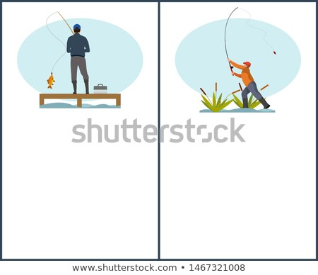 Man on Pier and Guy in Reed Fishing Flat Poster Stock photo © robuart