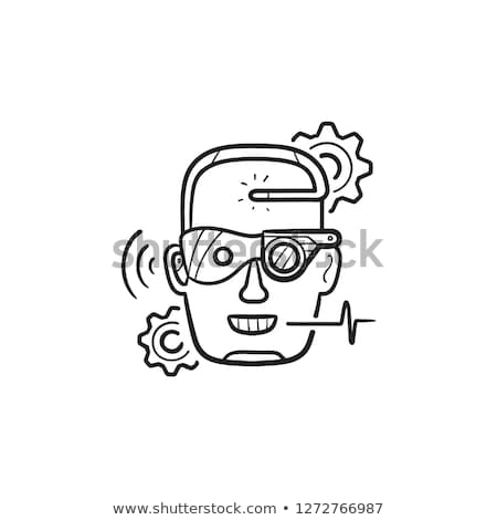 Stock photo: Cyber enhancement hand drawn outline doodle icon.