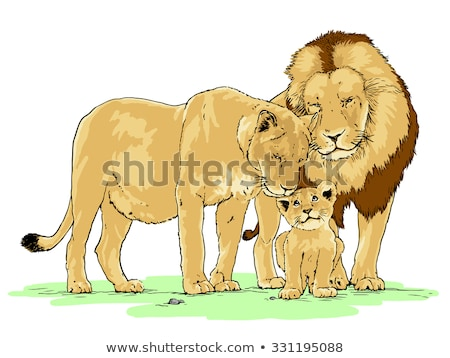 Cartoon Lioness Cub Love Stock photo © cthoman