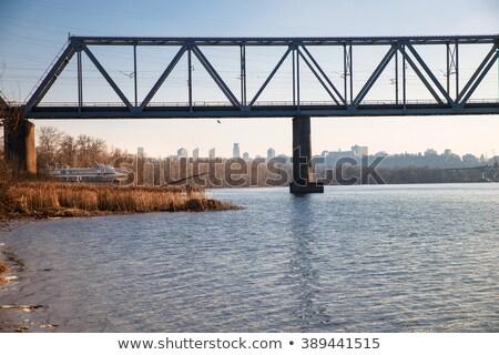 Scene with bridge across the river at sunset Stock photo © colematt