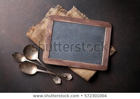 Vintage · столовое · серебро · деревенский · продовольствие · древесины - Сток-фото © karandaev