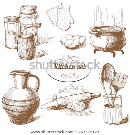 prato · talheres · esboço · ícone · vetor · isolado - foto stock © rastudio