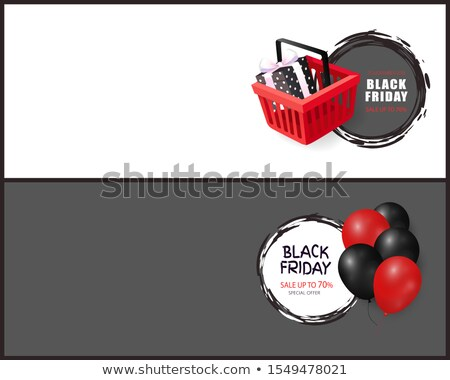 Black Friday Balloons Realistic 3D Icons Cart Gift Stock photo © robuart