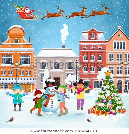 Gelukkig vakantie ansichtkaarten kinderen gebouw sneeuwpop Stockfoto © robuart