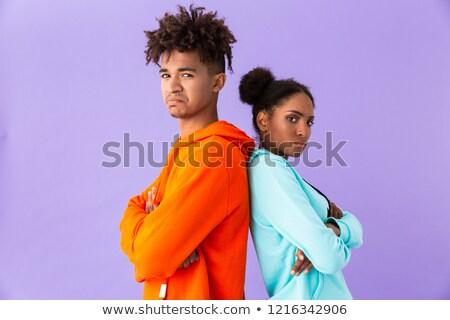 фото несчастный афроамериканец пару красочный одежды Сток-фото © deandrobot