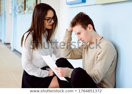 Female friends worried with final exams Stock photo © iko
