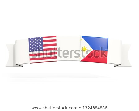 Banner with two square flags of United States and philippines Stock photo © MikhailMishchenko