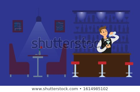 Night Club Bartender in Empty Hall with Drink Stock photo © robuart