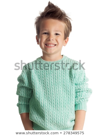 five year old boy posing over white studio background Stock photo © Lopolo