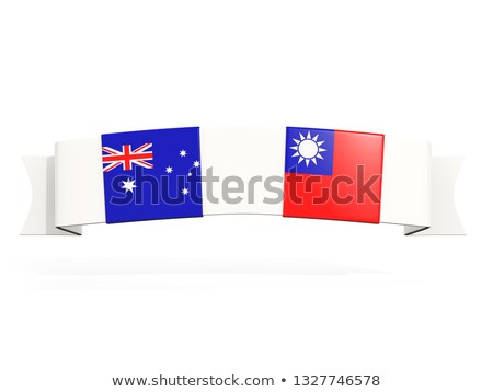Banner with two square flags of Australia and taiwan Stock photo © MikhailMishchenko
